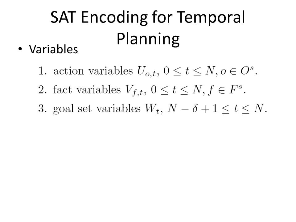 SAT Encoding for Temporal Planning Variables