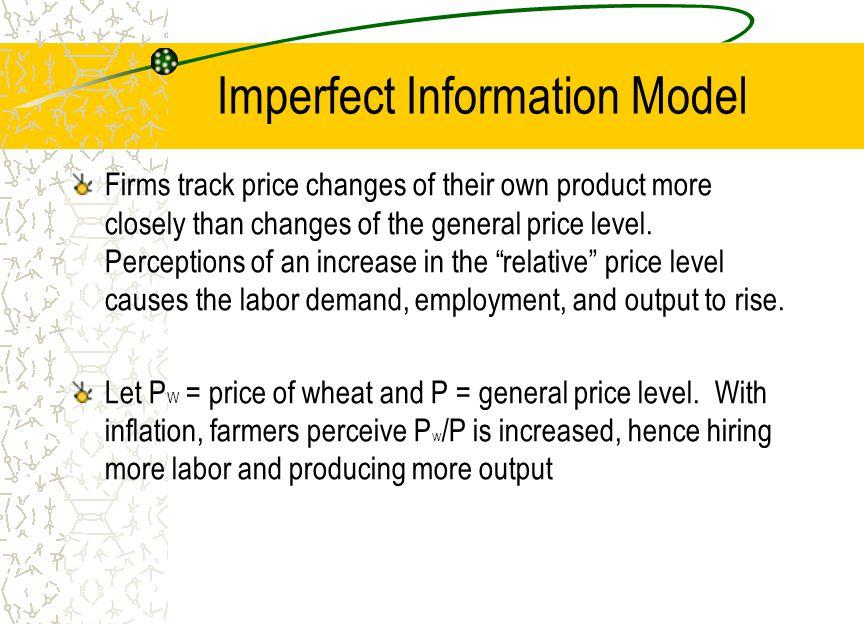 Imperfect Information Model W/P 1 W/P2 Labor Real Wage Ld1 Output Labor L1L1 L1L1 L2L2 L2 Y1Y1 Y2 Output Price Y1Y1 Y2 P W1 P W2 Short-run AS Y Ld2 Ls
