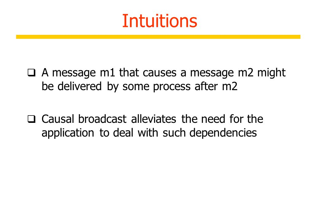 Limitations of FIFO Broadcast Scenario: User A broadcasts a message to a mailing list/Board B delivers that article B broadcasts reply C delivers B's response without A´s original message and misinterprets the message 27