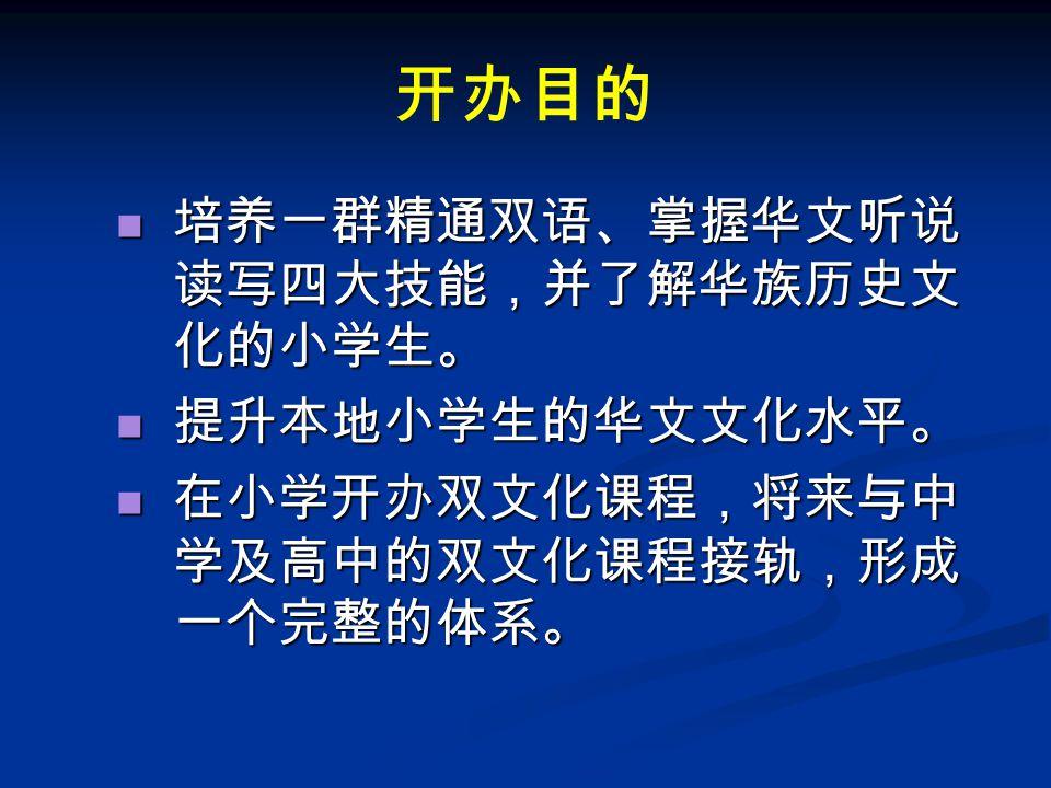 开办目的 培养一群精通双语、掌握华文听说 读写四大技能,并了解华族历史文 化的小学生。 培养一群精通双语、掌握华文听说 读写四大技能,并了解华族历史文 化的小学生。 提升本地小学生的华文文化水平。 提升本地小学生的华文文化水平。 在小学开办双文化课程,将来与中 学及高中的双文化课程接轨,形成 一个完整的体系。 在小学开办双文化课程,将来与中 学及高中的双文化课程接轨,形成 一个完整的体系。