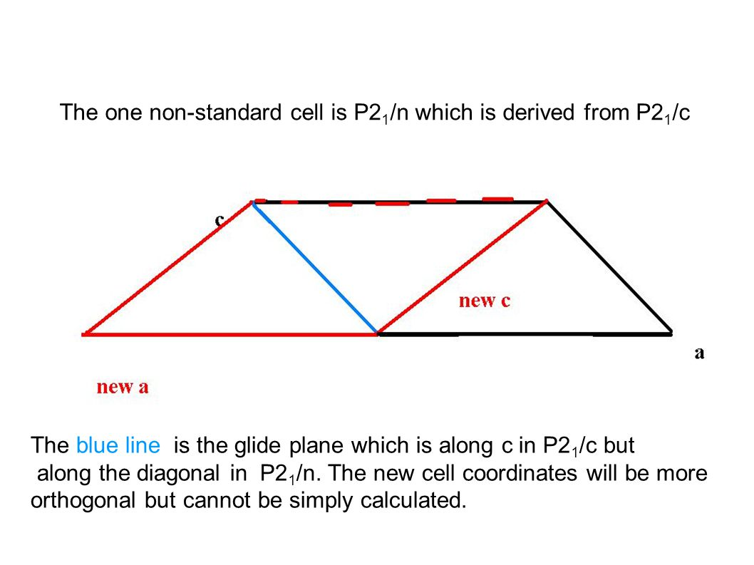 The one non-standard cell is P2 1 /n which is derived from P2 1 /c The blue line is the glide plane which is along c in P2 1 /c but along the diagonal in P2 1 /n.