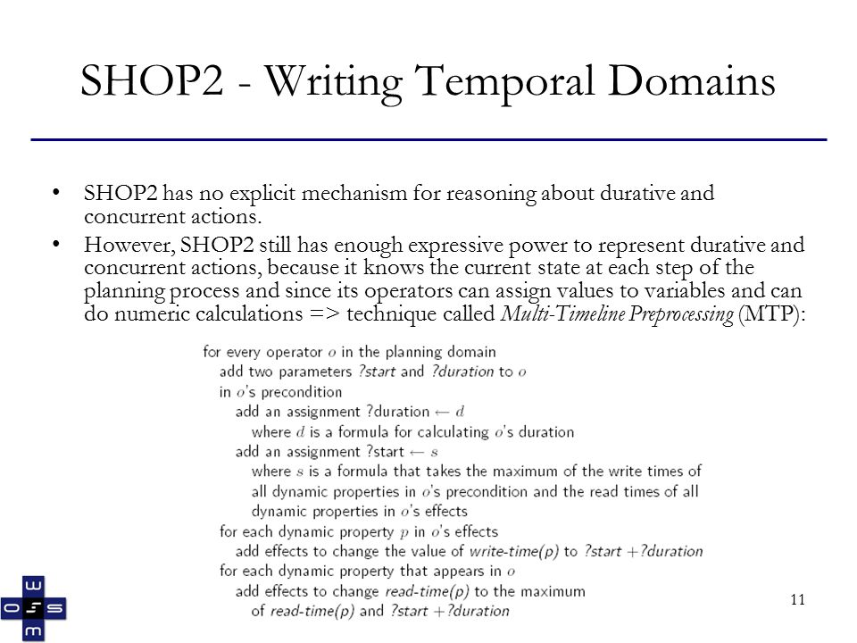 11 SHOP2 - Writing Temporal Domains SHOP2 has no explicit mechanism for reasoning about durative and concurrent actions.