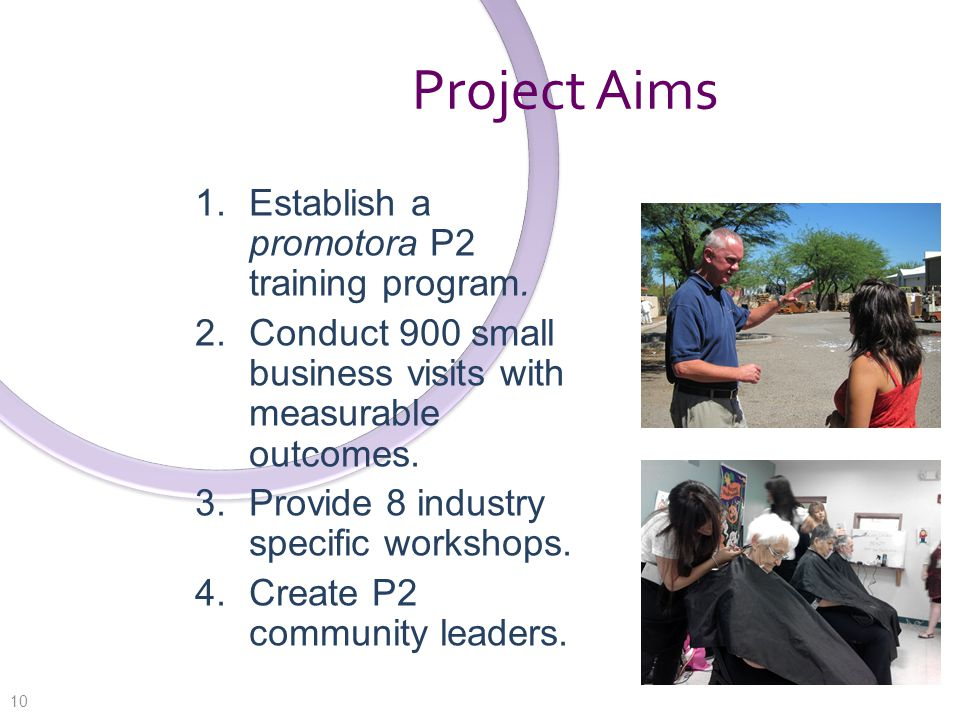 Project Aims 1. Establish a promotora P2 training program.