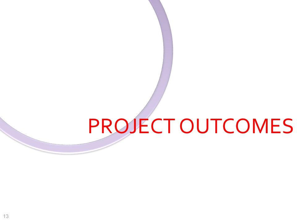 PROJECT OUTCOMES 13
