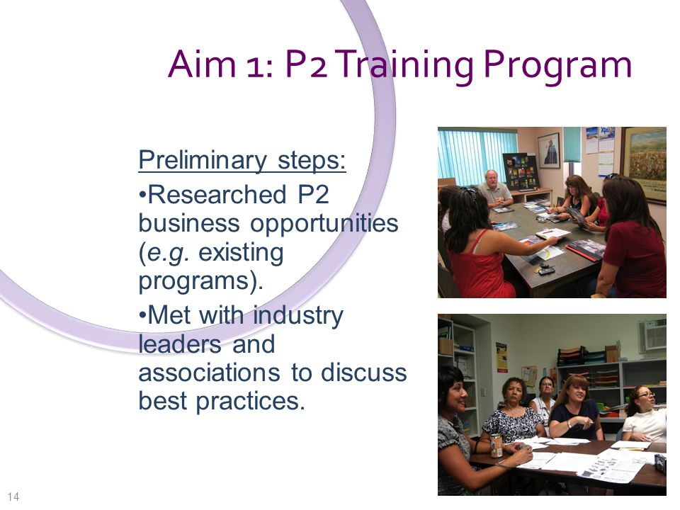 Aim 1: P2 Training Program Preliminary steps: Researched P2 business opportunities (e.g.