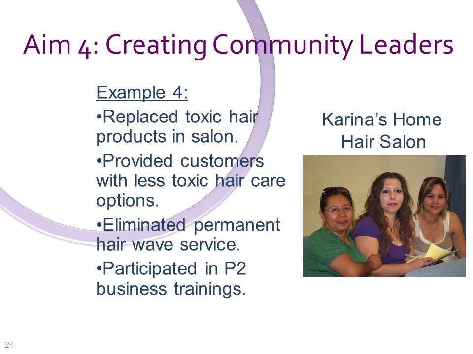 Aim 4: Creating Community Leaders Example 4: Replaced toxic hair products in salon.