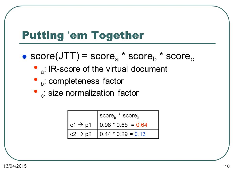 13/04/2015 16 Putting ' em Together score(JTT) = score a * score b * score c a : IR-score of the virtual document b : completeness factor c : size normalization factor score a * score b c1  p10.98 * 0.65 = 0.64 c2  p20.44 * 0.29 = 0.13