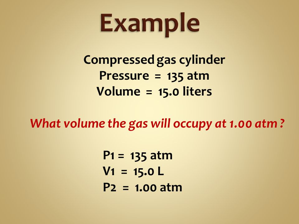 Start with 2.37 liters of gas @ 25.0 °C ( 298 K ) and 1 atmosphere Heat it to 297 °C ( 570 K ).