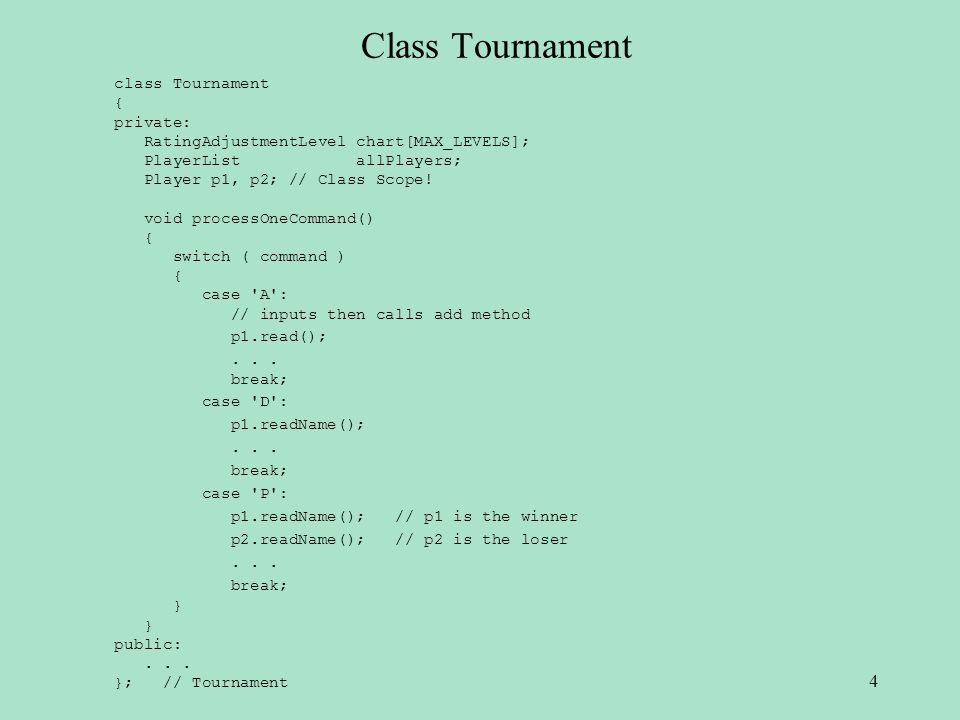 Class Tournament class Tournament { private: RatingAdjustmentLevel chart[MAX_LEVELS]; PlayerList allPlayers; Player p1, p2; // Class Scope! void proce