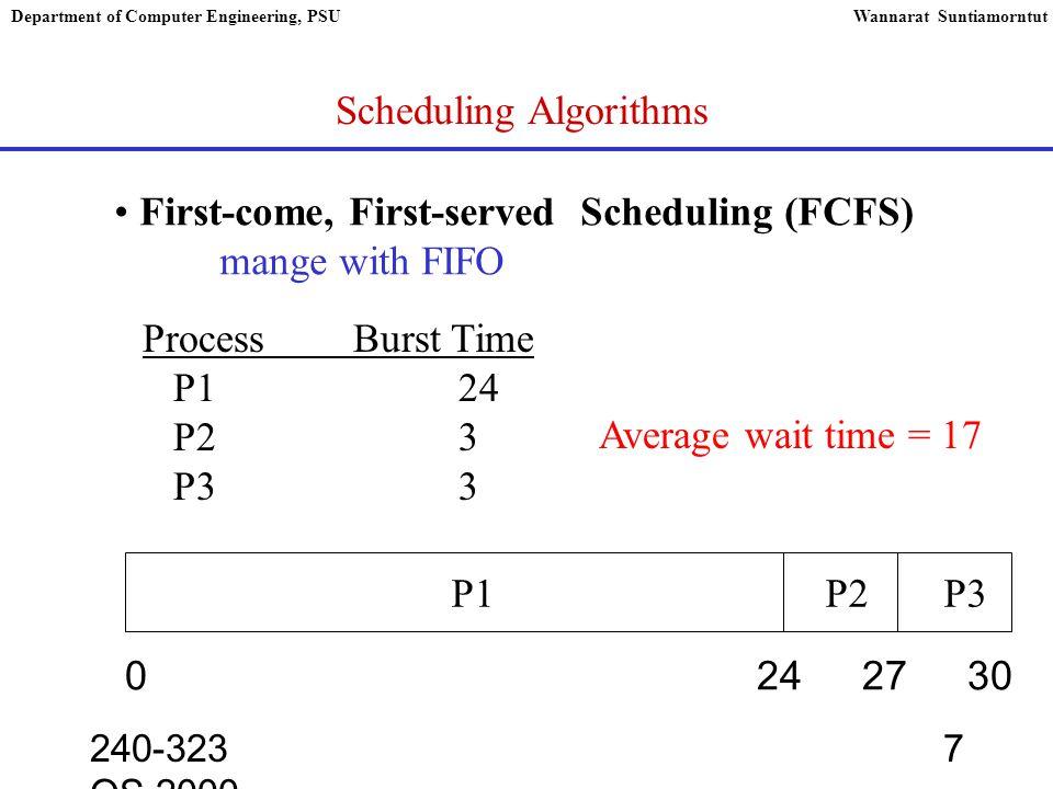 240-323 OS,2000 8 Department of Computer Engineering, PSUWannarat Suntiamorntut FCFS ProcessBurst Time P124 P23 P33 0 3 630 P3 P2 P1 Average wait time = 3