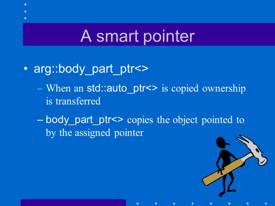 A smart pointer arg::body_part_ptr<> –When an std::auto_ptr<> is copied ownership is transferred –body_part_ptr<> copies the object pointed to by the assigned pointer