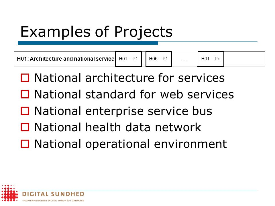 Examples of Projects  National architecture for services  National standard for web services  National enterprise service bus  National health data network  National operational environment H06 – P1 H01: Architecture and national service platform H01 – P1H01 – Pn …