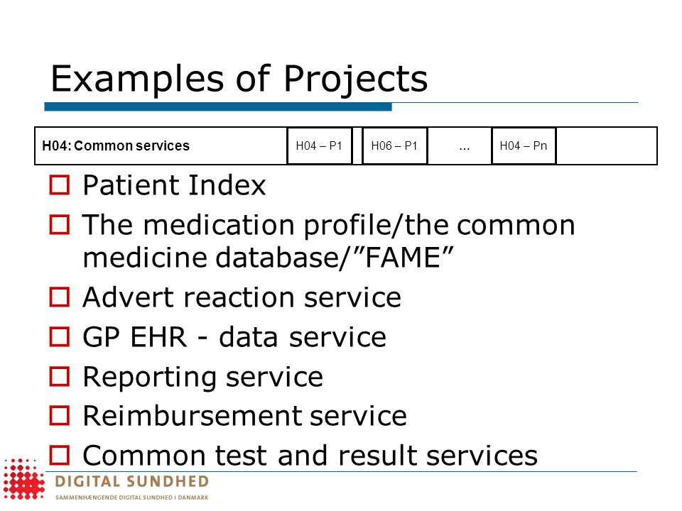 Examples of Projects  Patient Index  The medication profile/the common medicine database/ FAME  Advert reaction service  GP EHR - data service  Reporting service  Reimbursement service  Common test and result services H06 – P1 H04: Common services H04 – P1H04 – Pn …