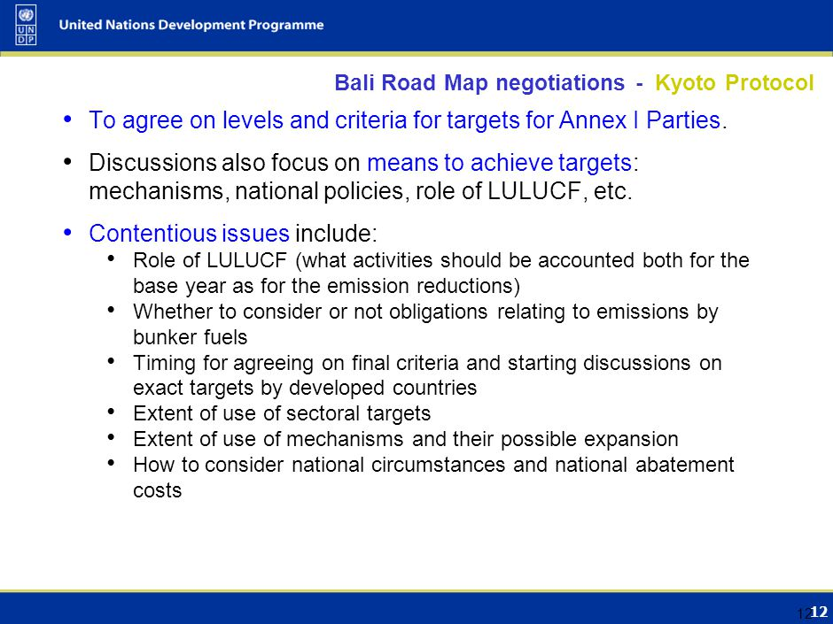 12 Bali Road Map negotiations - Kyoto Protocol To agree on levels and criteria for targets for Annex I Parties. Discussions also focus on means to ach
