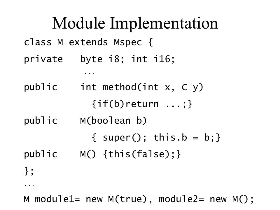 Module Implementation class M extends Mspec { private byte i8; int i16;...