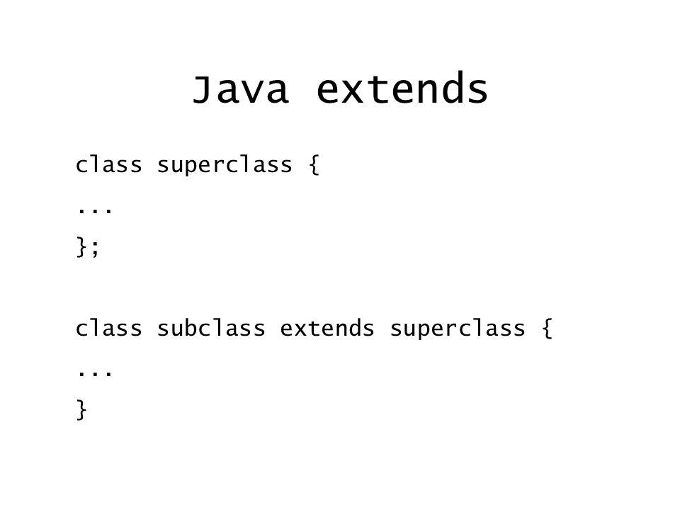 Java extends class superclass {... }; class subclass extends superclass {... }