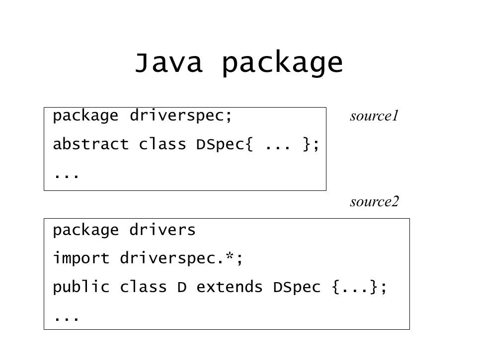 Java package package driverspec; source1 abstract class DSpec{...