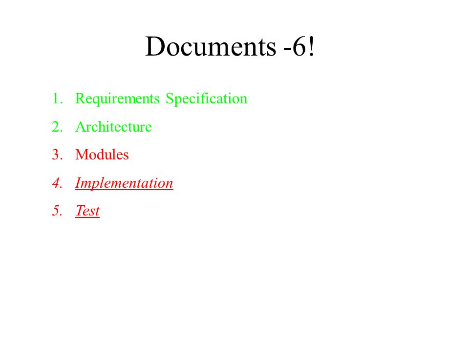 Documents -6! 1.Requirements Specification 2.Architecture 3.Modules 4.Implementation 5.Test
