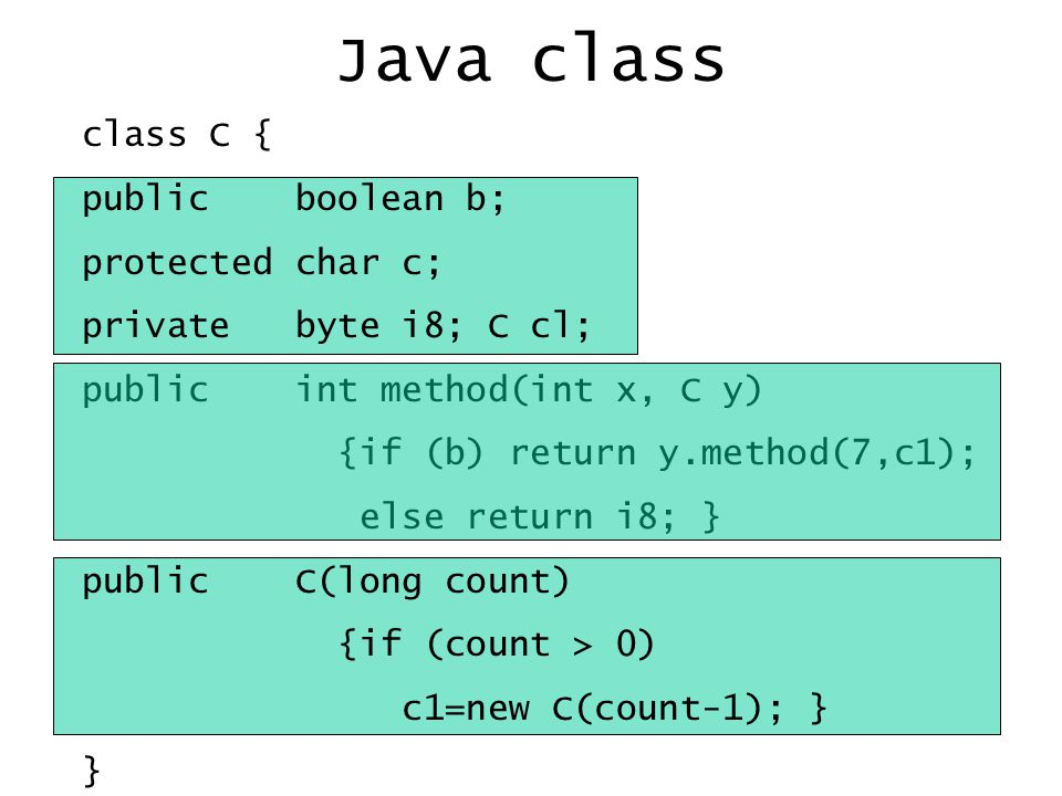 Java class class C { public boolean b; protected char c; private byte i8; C cl; public int method(int x, C y) {if (b) return y.method(7,c1); else return i8; } public C(long count) {if (count > 0) c1=new C(count-1); } }