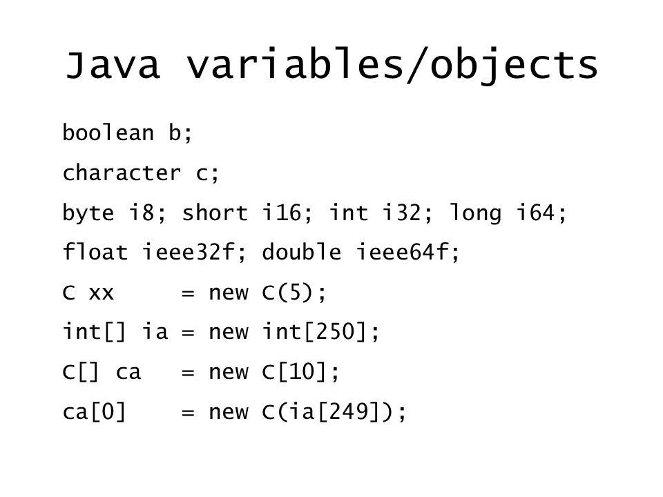 Java variables/objects boolean b; character c; byte i8; short i16; int i32; long i64; float ieee32f; double ieee64f; C xx = new C(5); int[] ia = new int[250]; C[] ca = new C[10]; ca[0] = new C(ia[249]);