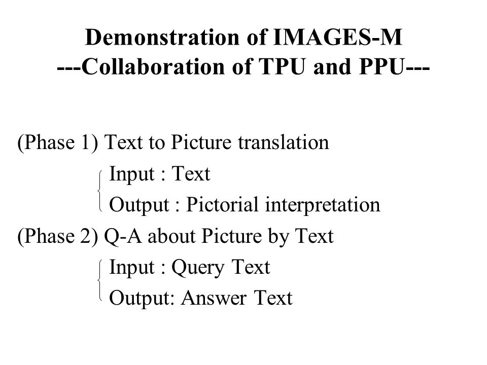 Demonstration of IMAGES-M ---Collaboration of TPU and PPU--- (Phase 1) Text to Picture translation Input : Text Output : Pictorial interpretation (Pha