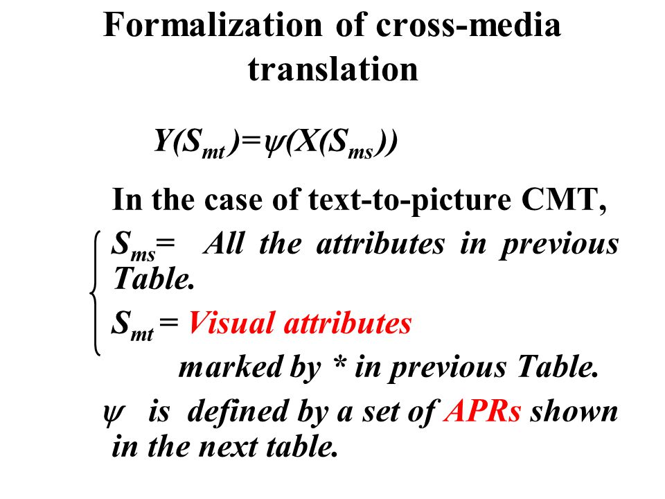 Formalization of cross-media translation Y(S mt )=  (X(S ms )) In the case of text-to-picture CMT, S ms = All the attributes in previous Table. S mt