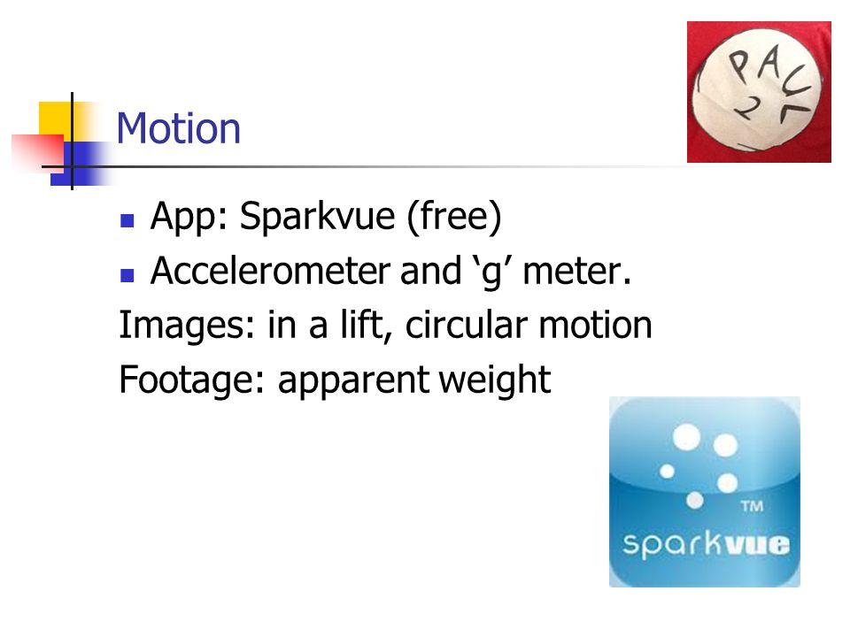 Motion App: Sparkvue (free) Accelerometer and 'g' meter.