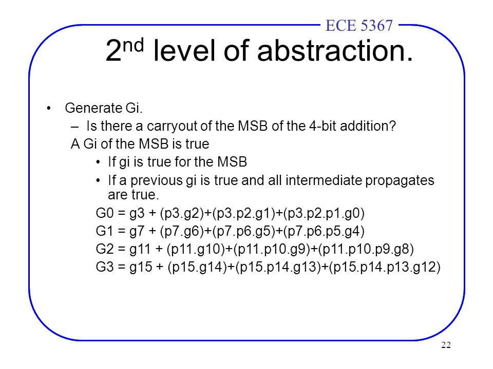 22 ECE 4436ECE 5367 2 nd level of abstraction. Generate Gi.