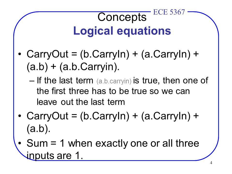 4 ECE 4436ECE 5367 Concepts Logical equations CarryOut = (b.CarryIn) + (a.CarryIn) + (a.b) + (a.b.Carryin).