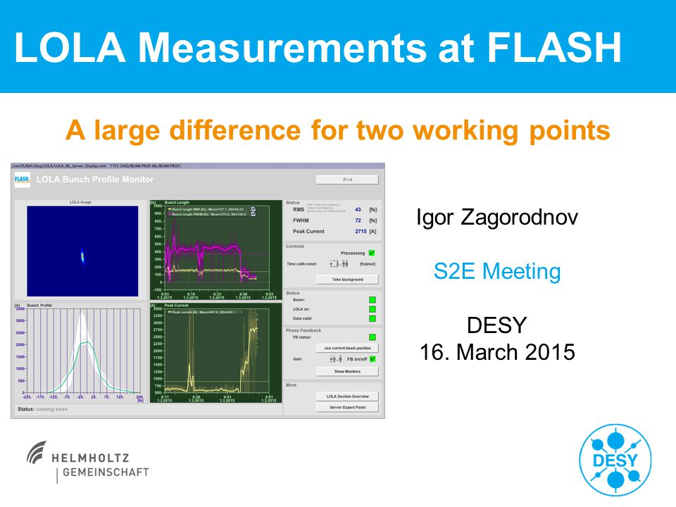 A large difference for two working points LOLA Measurements at FLASH Igor Zagorodnov S2E Meeting DESY 16. March 2015