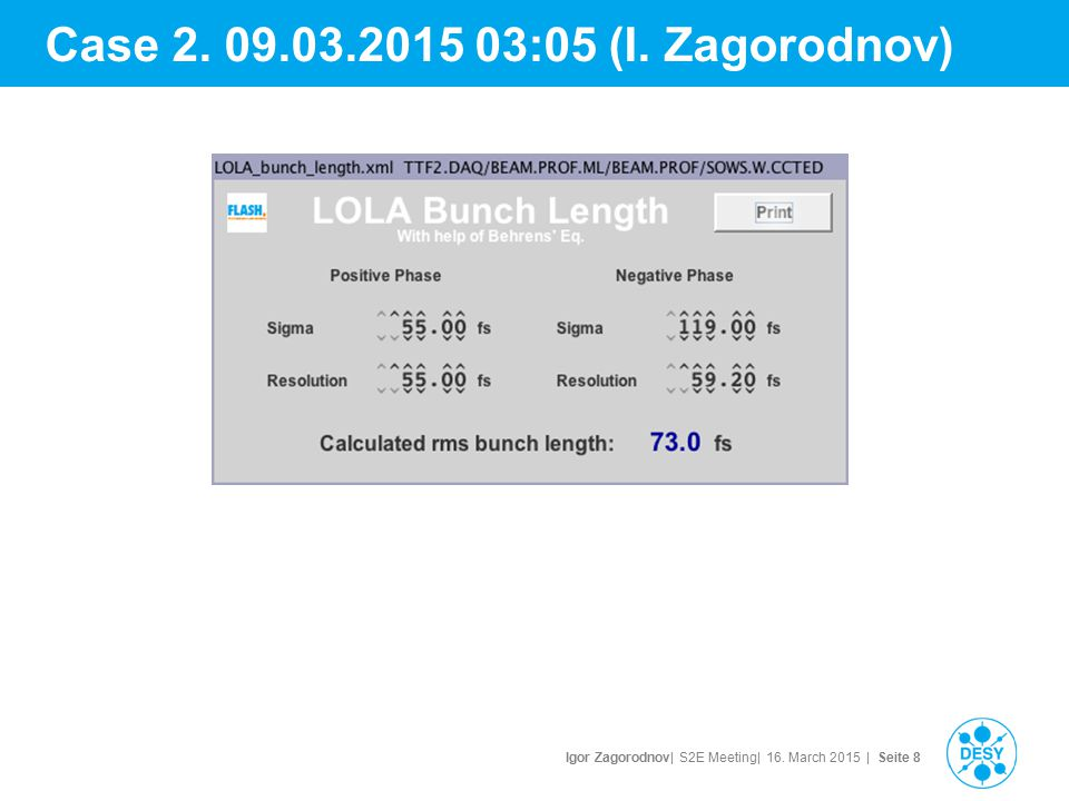 Igor Zagorodnov| S2E Meeting| 16. March 2015 | Seite 8 Case 2. 09.03.2015 03:05 (I. Zagorodnov)