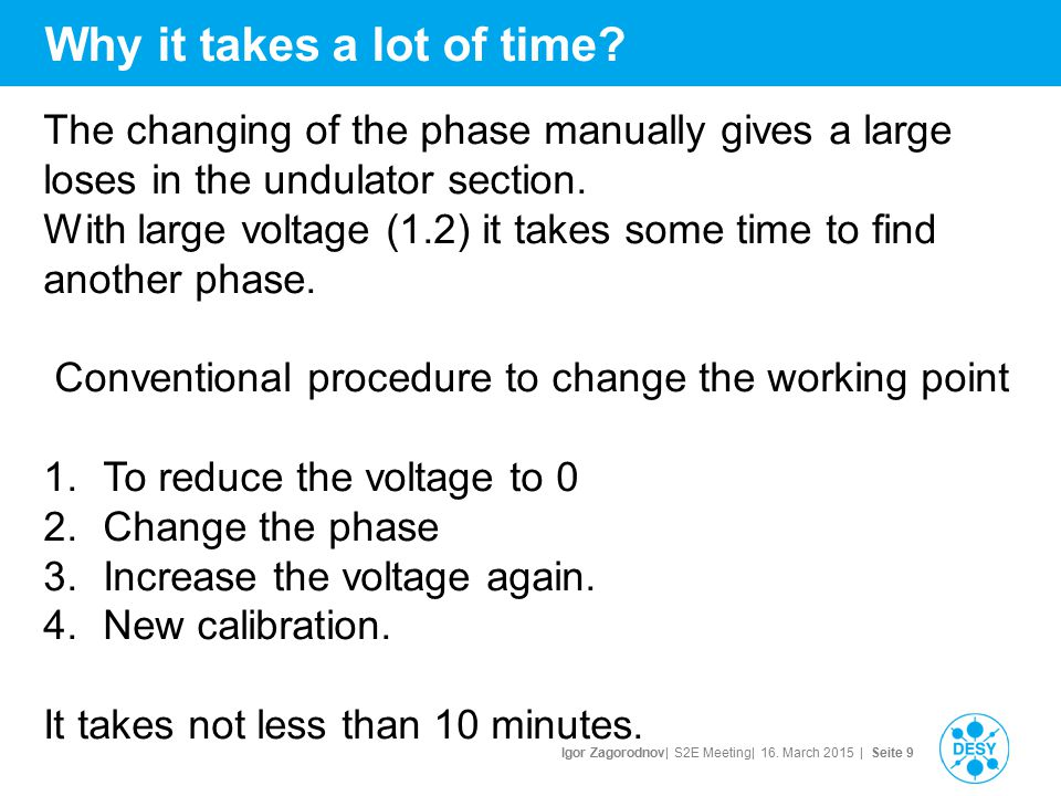 Igor Zagorodnov| S2E Meeting| 16. March 2015 | Seite 9 Why it takes a lot of time? The changing of the phase manually gives a large loses in the undul