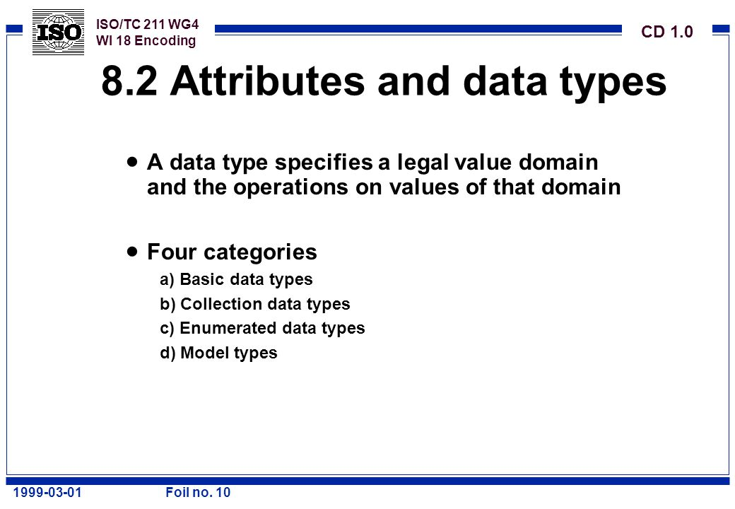 ISO/TC 211 WG4 WI 18 Encoding CD 1.0 1999-03-01Foil no. 10 8.2 Attributes and data types  A data type specifies a legal value domain and the operatio