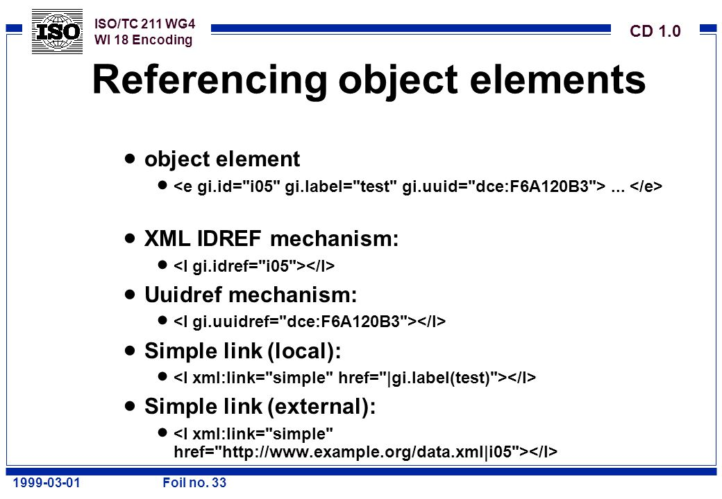ISO/TC 211 WG4 WI 18 Encoding CD 1.0 1999-03-01Foil no. 33 Referencing object elements  object element ...  XML IDREF mechanism:   Uuidref mechan