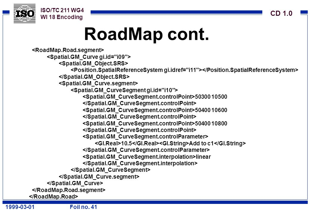 ISO/TC 211 WG4 WI 18 Encoding CD 1.0 1999-03-01Foil no. 41 RoadMap cont. 50300 10500 50400 10600 50400 10800 10.5 Add to c1 linear