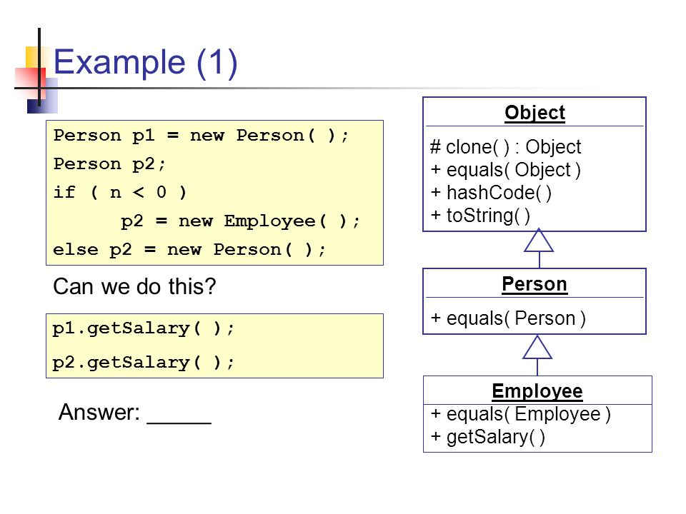 Example (1) Person + equals( Person ) Employee + equals( Employee ) + getSalary( ) Object # clone( ) : Object + equals( Object ) + hashCode( ) + toString( ) Person p1 = new Person( ); Person p2; if ( n < 0 ) p2 = new Employee( ); else p2 = new Person( ); p1.getSalary( ); p2.getSalary( ); Can we do this.