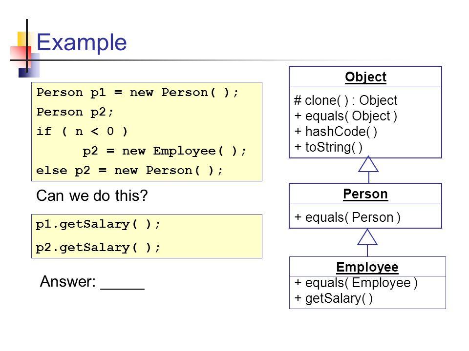 Example Person + equals( Person ) Employee + equals( Employee ) + getSalary( ) Object # clone( ) : Object + equals( Object ) + hashCode( ) + toString( ) Person p1 = new Person( ); Person p2; if ( n < 0 ) p2 = new Employee( ); else p2 = new Person( ); p1.getSalary( ); p2.getSalary( ); Can we do this.