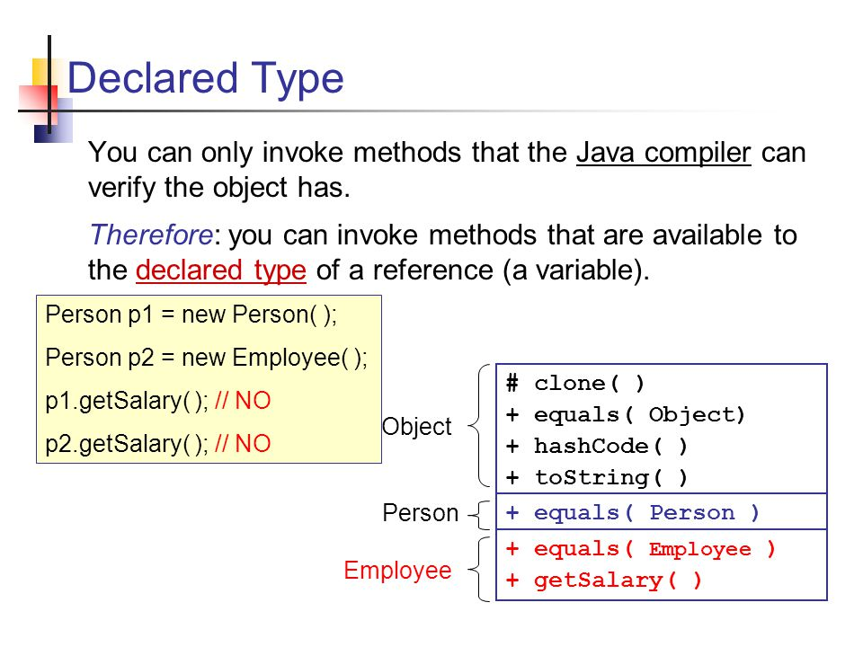 Declared Type You can only invoke methods that the Java compiler can verify the object has.