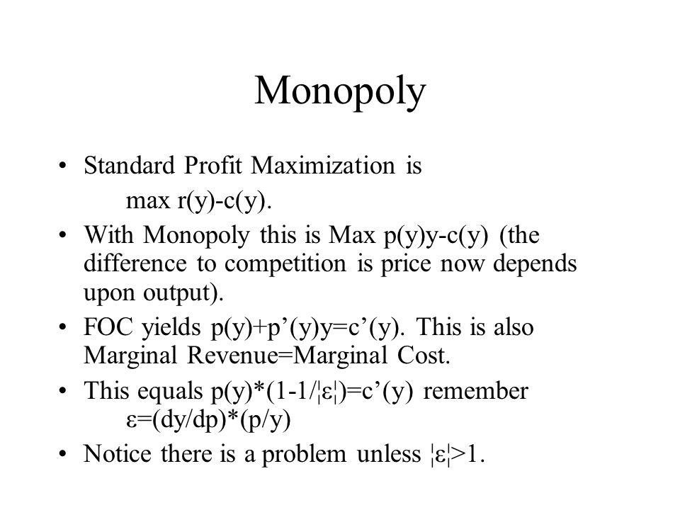 Monopoly Standard Profit Maximization is max r(y)-c(y).