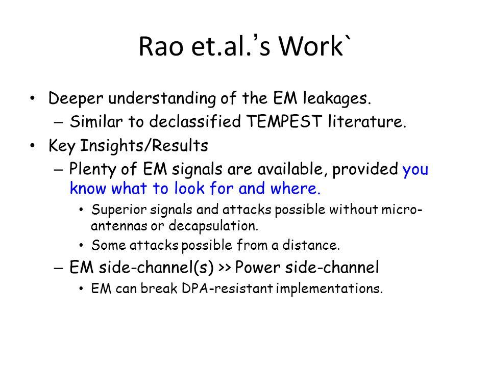Rao et.al.'s Work` Deeper understanding of the EM leakages.