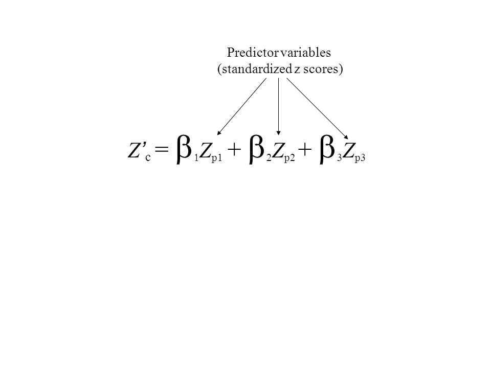 Z ' c =   Z p1 +   Z p2 +   Z p3 Predictor variables (standardized z scores)