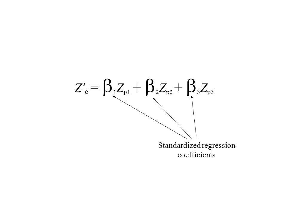 Z ' c =   Z p1 +   Z p2 +   Z p3 Standardized regression coefficients