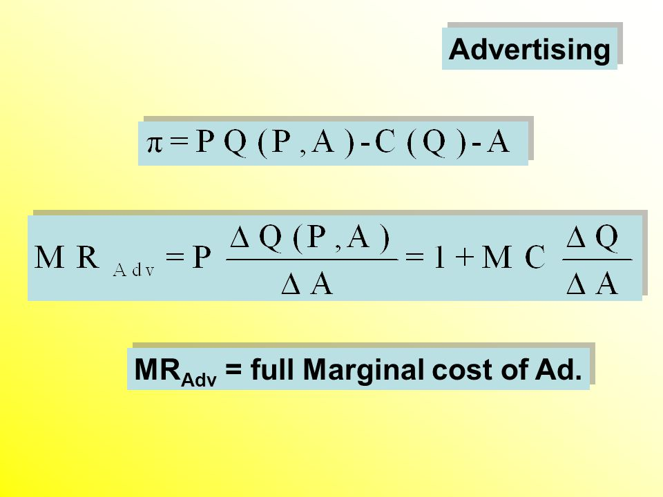 Advertising MR Adv = full Marginal cost of Ad.