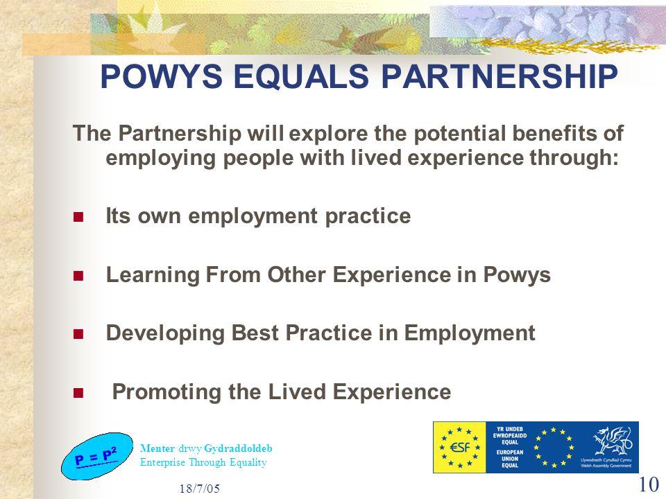 Menter drwy Gydraddoldeb Enterprise Through Equality 18/7/05 10 POWYS EQUALS PARTNERSHIP The Partnership will explore the potential benefits of employing people with lived experience through: Its own employment practice Learning From Other Experience in Powys Developing Best Practice in Employment Promoting the Lived Experience