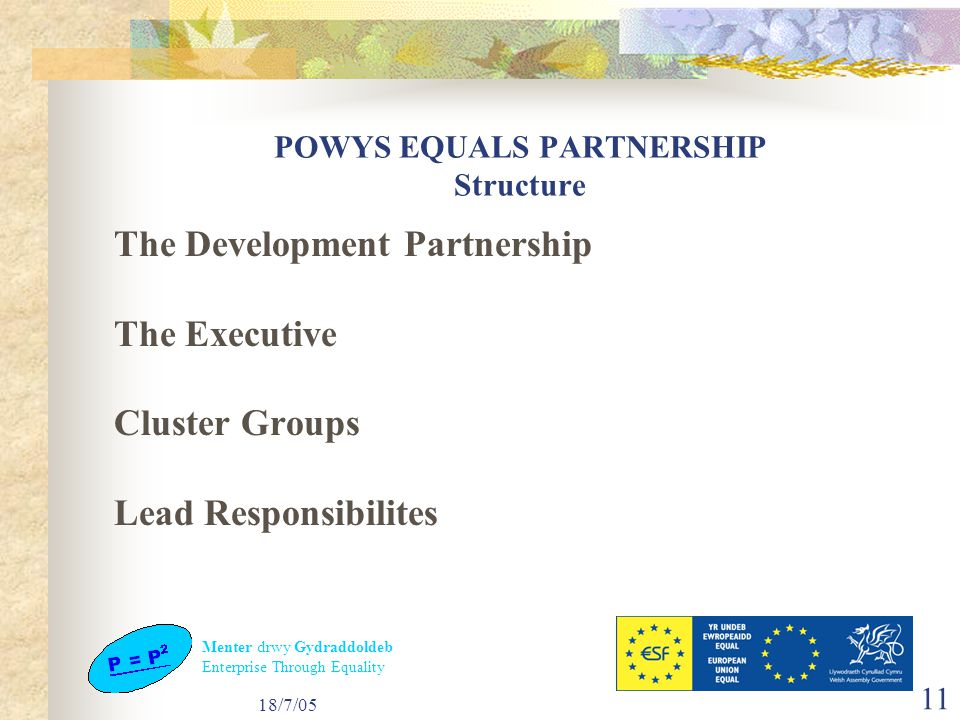 Menter drwy Gydraddoldeb Enterprise Through Equality 18/7/05 11 POWYS EQUALS PARTNERSHIP Structure The Development Partnership The Executive Cluster Groups Lead Responsibilites