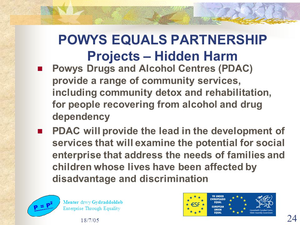 Menter drwy Gydraddoldeb Enterprise Through Equality 18/7/05 24 POWYS EQUALS PARTNERSHIP Projects – Hidden Harm Powys Drugs and Alcohol Centres (PDAC) provide a range of community services, including community detox and rehabilitation, for people recovering from alcohol and drug dependency PDAC will provide the lead in the development of services that will examine the potential for social enterprise that address the needs of families and children whose lives have been affected by disadvantage and discrimination