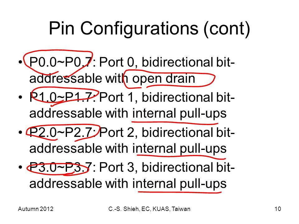 Autumn 2012C.-S. Shieh, EC, KUAS, Taiwan10 Pin Configurations (cont) P0.0~P0.7: Port 0, bidirectional bit- addressable with open drain P1.0~P1.7: Port