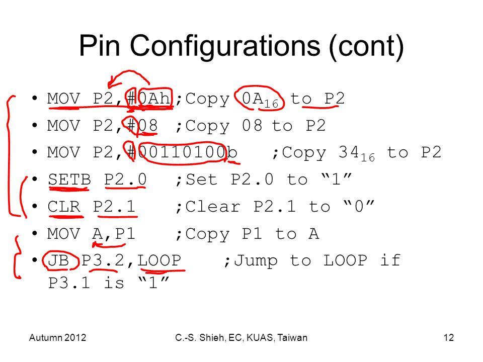 Autumn 2012C.-S. Shieh, EC, KUAS, Taiwan12 Pin Configurations (cont) MOV P2,#0Ah;Copy 0A 16 to P2 MOV P2,#08;Copy 08 to P2 MOV P2,#00110100b;Copy 34 1