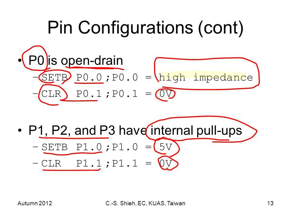 Autumn 2012C.-S. Shieh, EC, KUAS, Taiwan13 Pin Configurations (cont) P0 is open-drain –SETBP0.0;P0.0 = high impedance –CLRP0.1;P0.1 = 0V P1, P2, and P