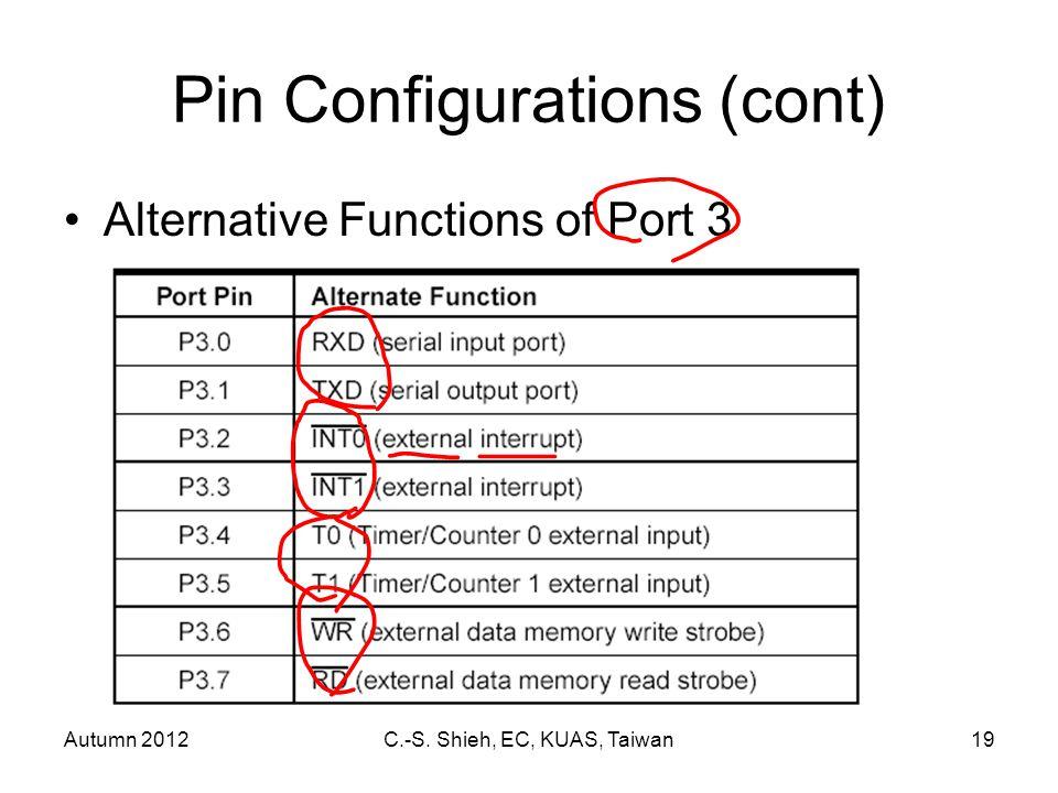 Autumn 2012C.-S. Shieh, EC, KUAS, Taiwan19 Pin Configurations (cont) Alternative Functions of Port 3